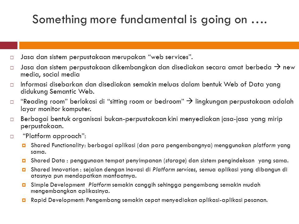 "Something more fundamental is going on ….  Jasa dan sistem perpustakaan merupakan ""web services"".  Jasa dan sistem perpustakaan dikembangkan dan dis"
