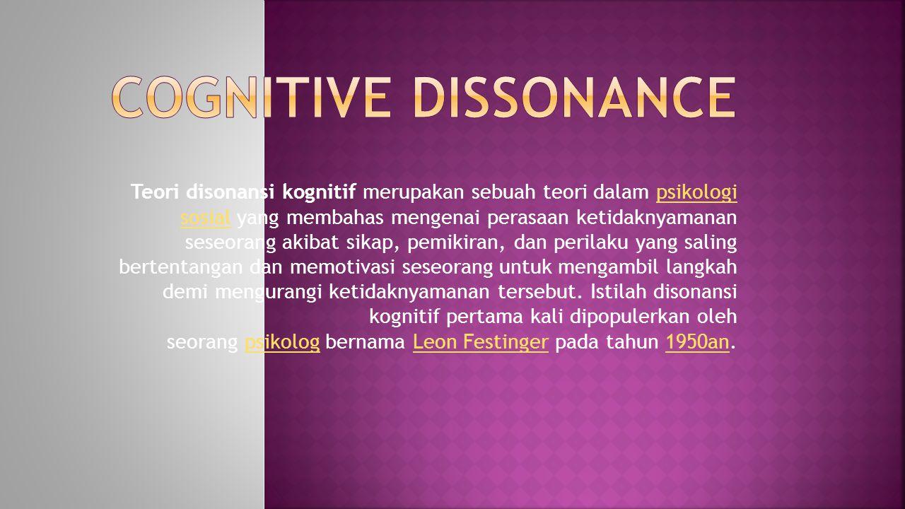 Teori disonansi kognitif merupakan sebuah teori dalam psikologi sosial yang membahas mengenai perasaan ketidaknyamanan seseorang akibat sikap, pemikir