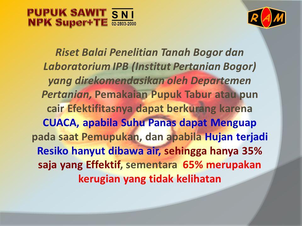 Riset Balai Penelitian Tanah Bogor dan Laboratorium IPB (Institut Pertanian Bogor) yang direkomendasikan oleh Departemen Pertanian, Pemakaian Pupuk Ta