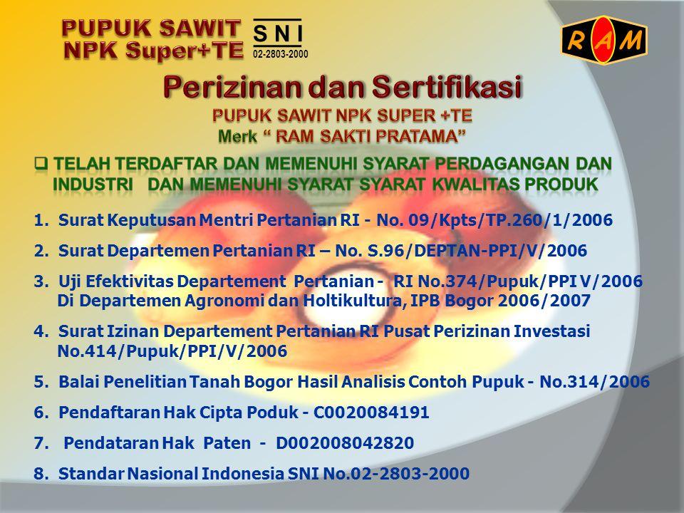 1. Surat Keputusan Mentri Pertanian RI - No. 09/Kpts/TP.260/1/2006 2. Surat Departemen Pertanian RI – No. S.96/DEPTAN-PPI/V/2006 3. Uji Efektivitas De