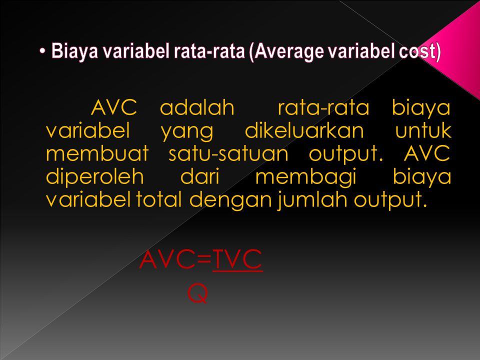 AVC adalah rata-rata biaya variabel yang dikeluarkan untuk membuat satu-satuan output. AVC diperoleh dari membagi biaya variabel total dengan jumlah o