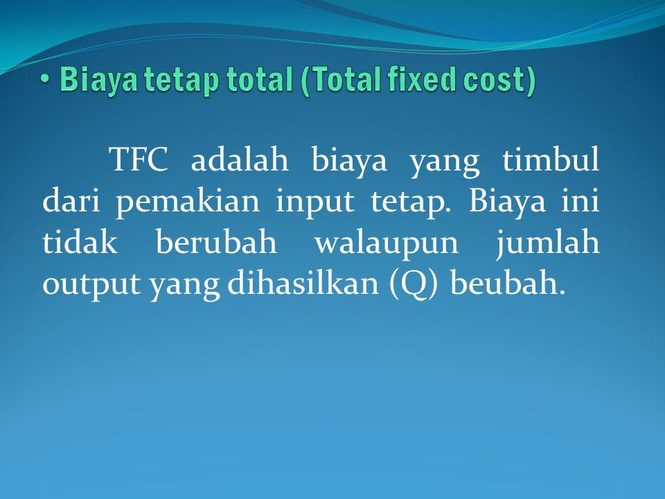 TFC adalah biaya yang timbul dari pemakian input tetap. Biaya ini tidak berubah walaupun jumlah output yang dihasilkan (Q) beubah.
