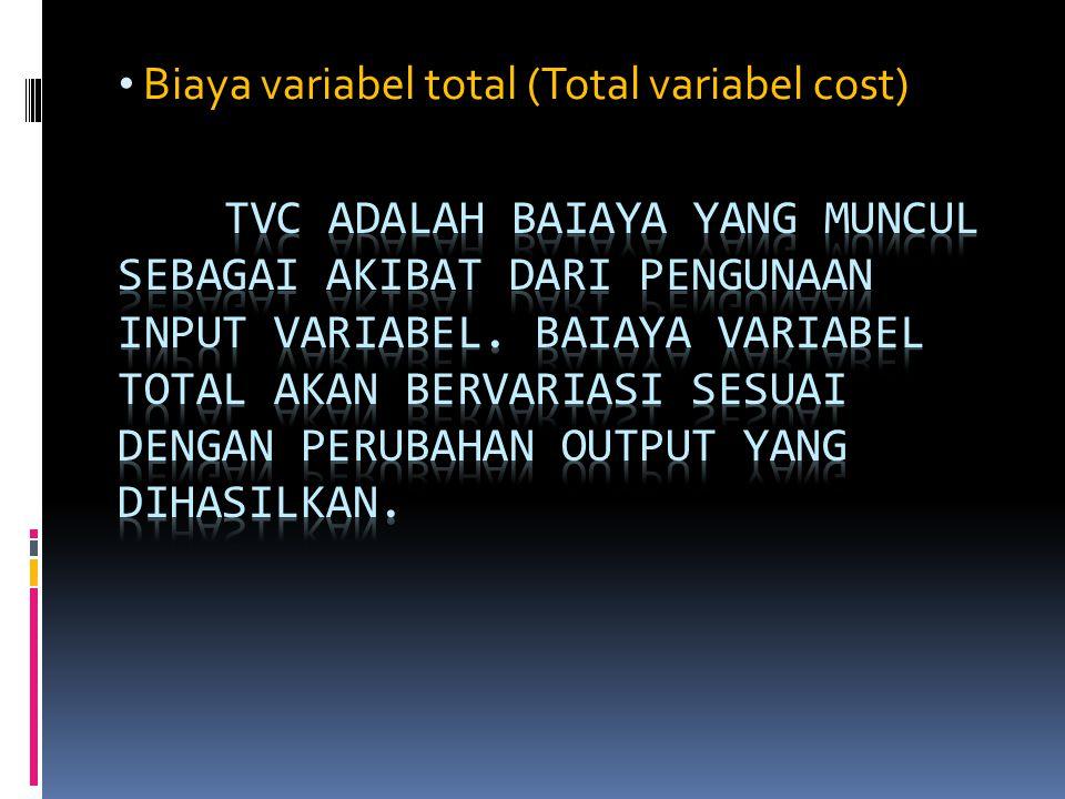 Biaya variabel total (Total variabel cost)