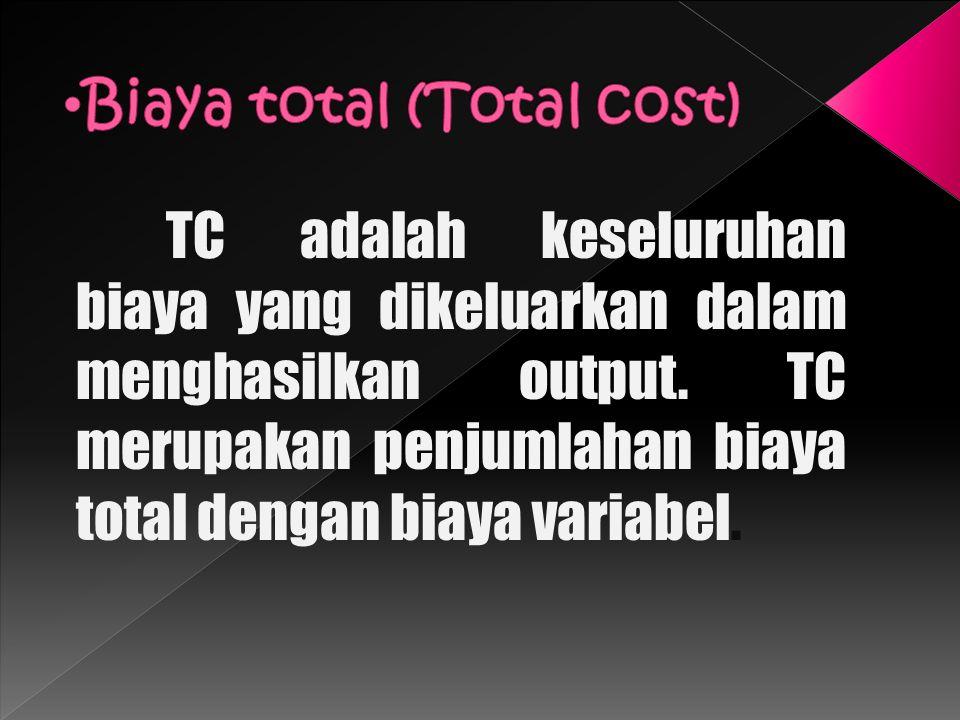TC adalah keseluruhan biaya yang dikeluarkan dalam menghasilkan output. TC merupakan penjumlahan biaya total dengan biaya variabel.