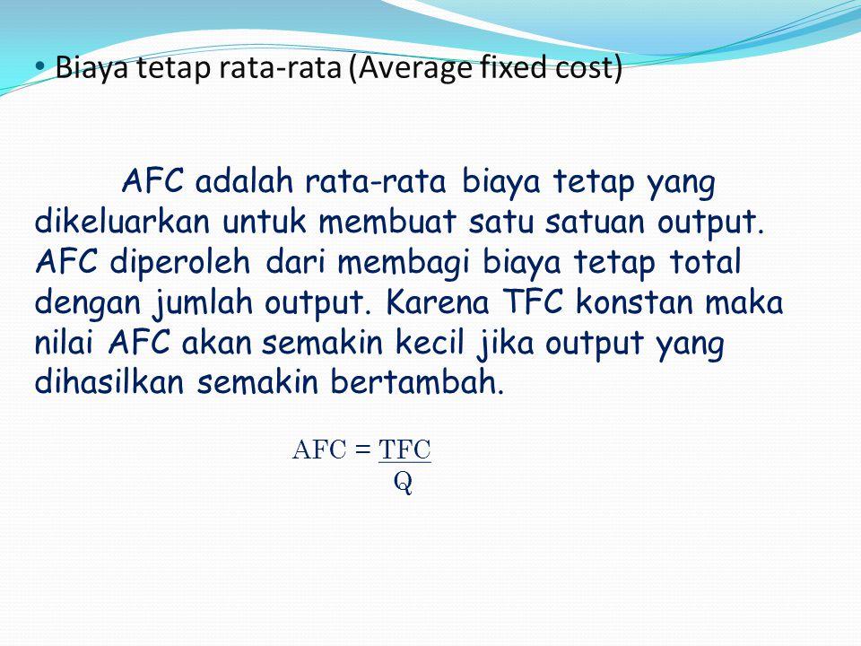 Biaya tetap rata-rata (Average fixed cost) AFC adalah rata-rata biaya tetap yang dikeluarkan untuk membuat satu satuan output. AFC diperoleh dari memb