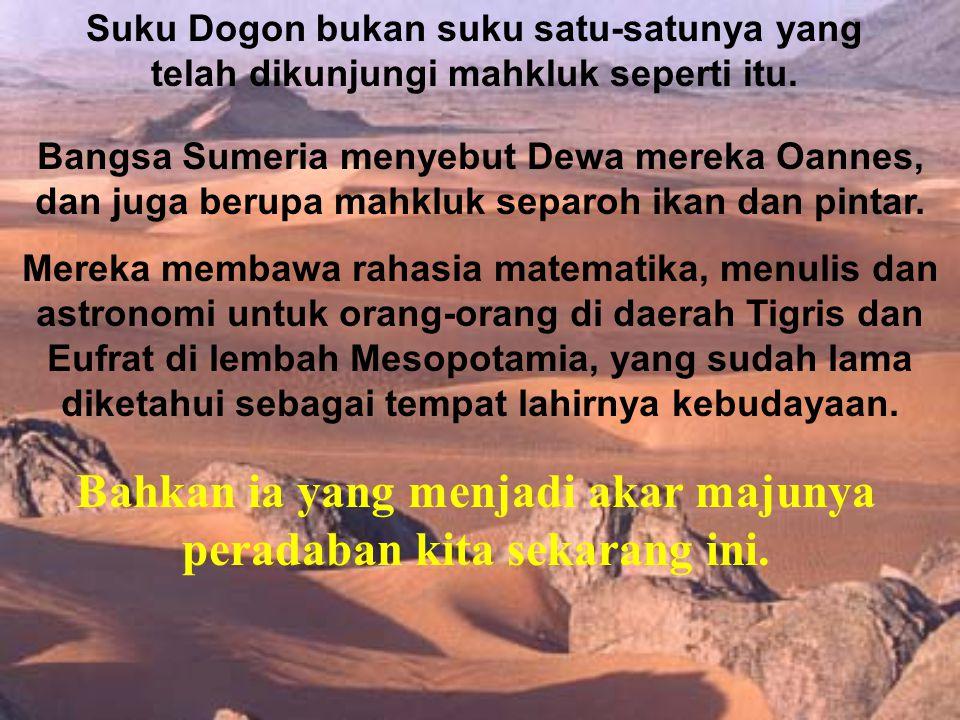 Suku Dogon bukan suku satu-satunya yang telah dikunjungi mahkluk seperti itu. Bangsa Sumeria menyebut Dewa mereka Oannes, dan juga berupa mahkluk sepa