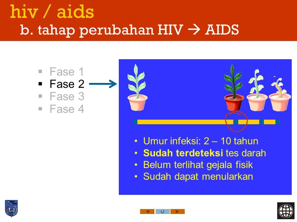 hiv / aids b. tahap perubahan HIV  AIDS  Fase 1  Fase 2  Fase 3  Fase 4 Umur infeksi: 2 – 10 tahun Sudah terdeteksi tes darah Belum terlihat geja