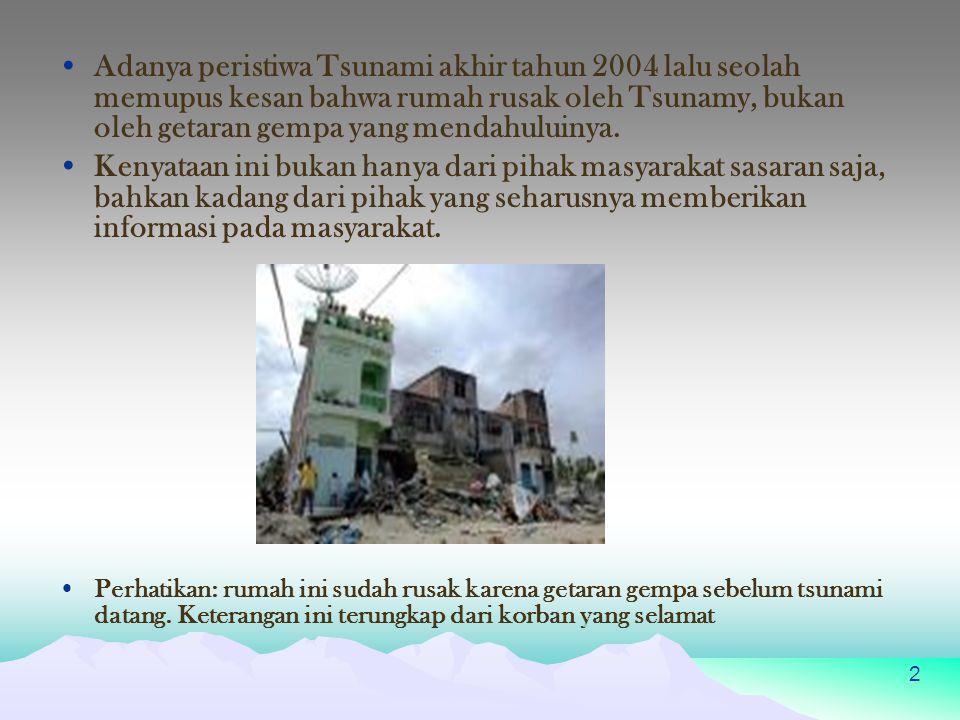 Adanya peristiwa Tsunami akhir tahun 2004 lalu seolah memupus kesan bahwa rumah rusak oleh Tsunamy, bukan oleh getaran gempa yang mendahuluinya.