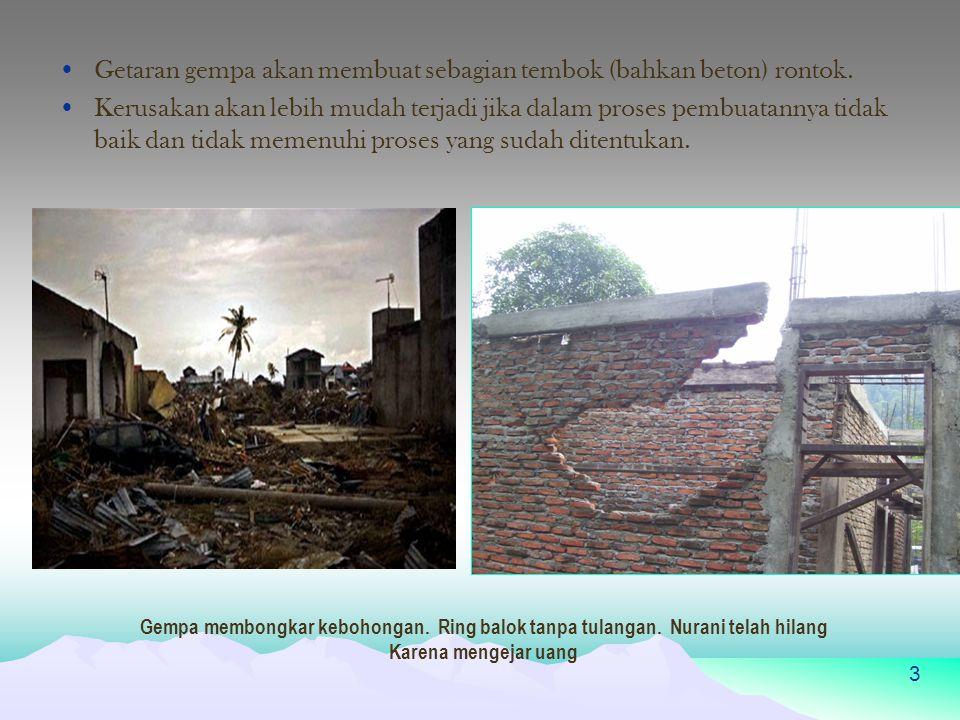 Getaran gempa akan membuat sebagian tembok (bahkan beton) rontok.