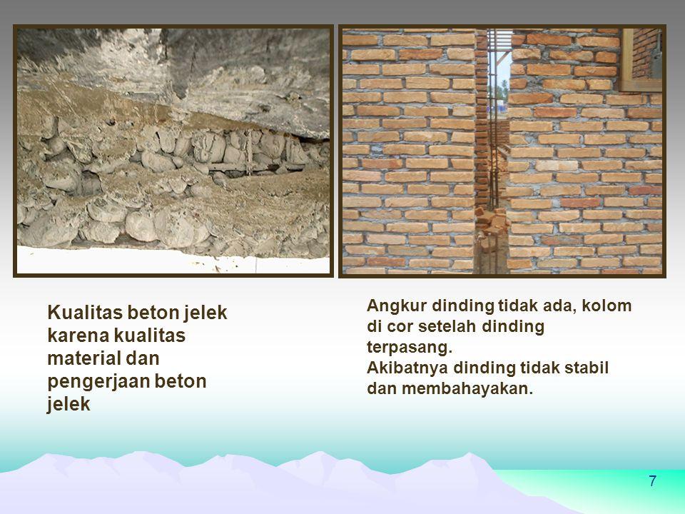 7 Kualitas beton jelek karena kualitas material dan pengerjaan beton jelek Angkur dinding tidak ada, kolom di cor setelah dinding terpasang.