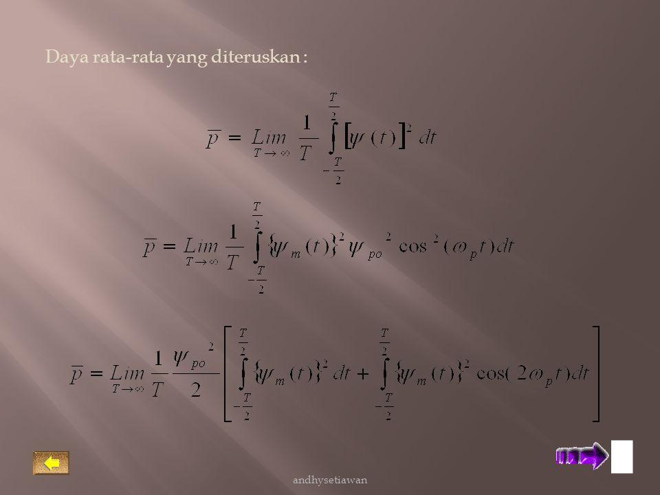 Untuk ω p >> ω m suku ke dua ruas kanan persamaan ini sama dengan nol, maka daya rata-rata : andhysetiawan