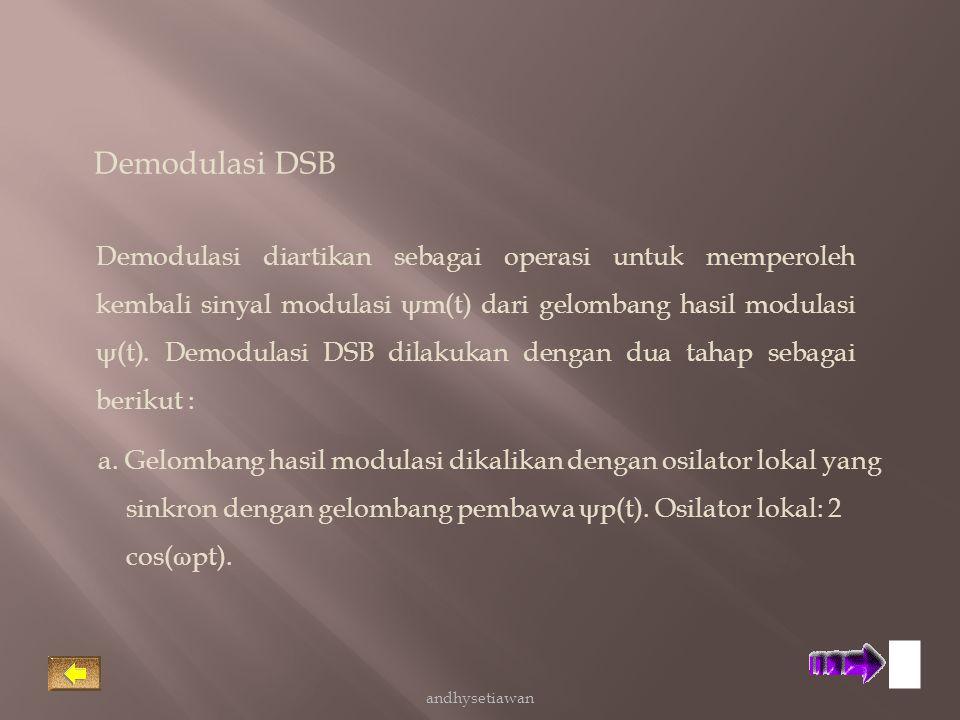 Demodulasi diartikan sebagai operasi untuk memperoleh kembali sinyal modulasi ψ m(t) dari gelombang hasil modulasi ψ (t). Demodulasi DSB dilakukan den