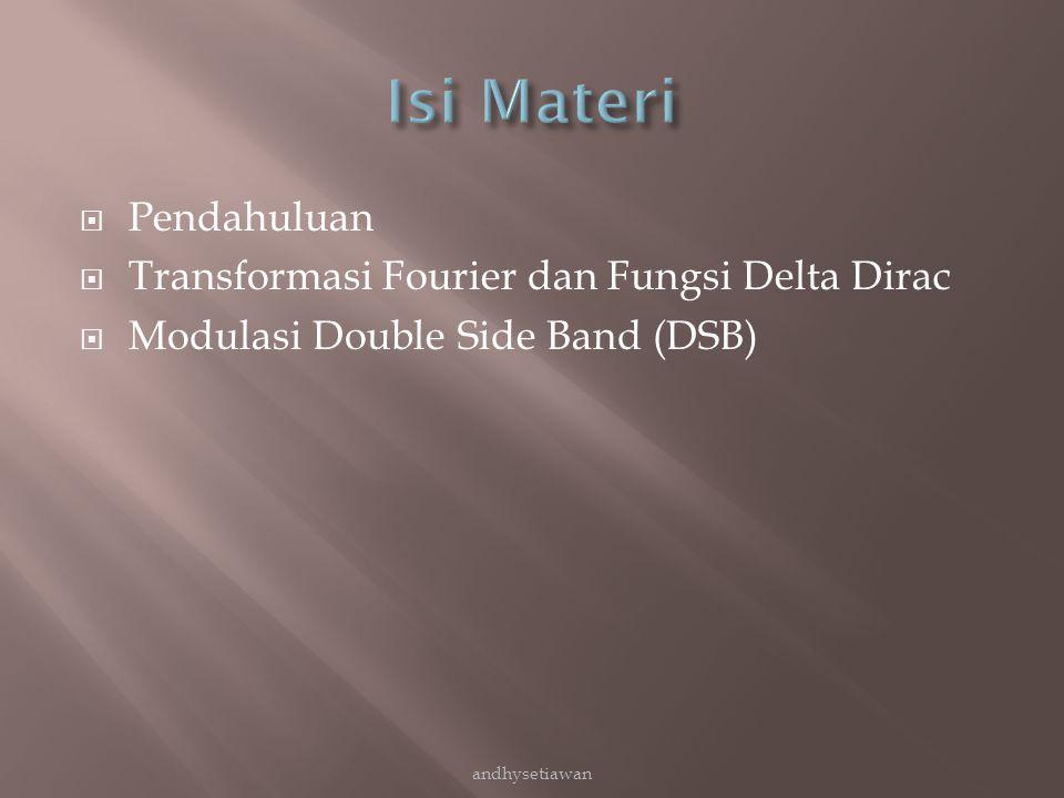  Pendahuluan  Transformasi Fourier dan Fungsi Delta Dirac  Modulasi Double Side Band (DSB) andhysetiawan