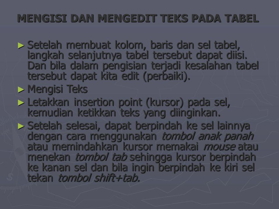 MENGISI DAN MENGEDIT TEKS PADA TABEL ► Setelah membuat kolom, baris dan sel tabel, langkah selanjutnya tabel tersebut dapat diisi.