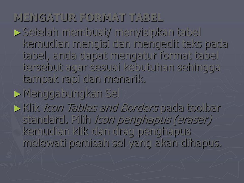 MENGATUR FORMAT TABEL ► Setelah membuat/ menyisipkan tabel kemudian mengisi dan mengedit teks pada tabel, anda dapat mengatur format tabel tersebut agar sesuai kebutuhan sehingga tampak rapi dan menarik.