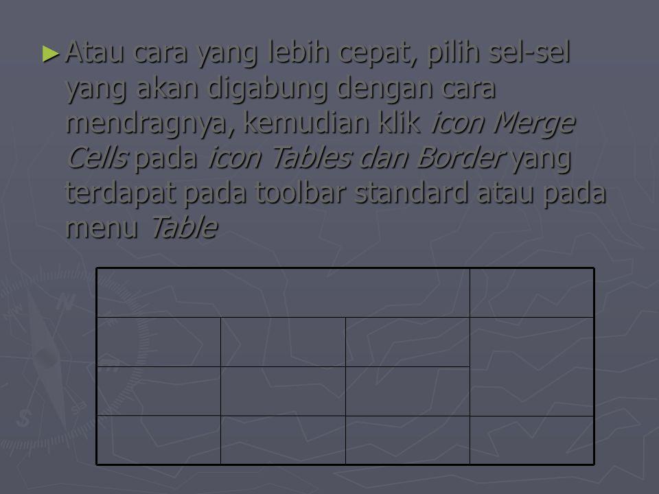 ► Atau cara yang lebih cepat, pilih sel-sel yang akan digabung dengan cara mendragnya, kemudian klik icon Merge Cells pada icon Tables dan Border yang terdapat pada toolbar standard atau pada menu Table