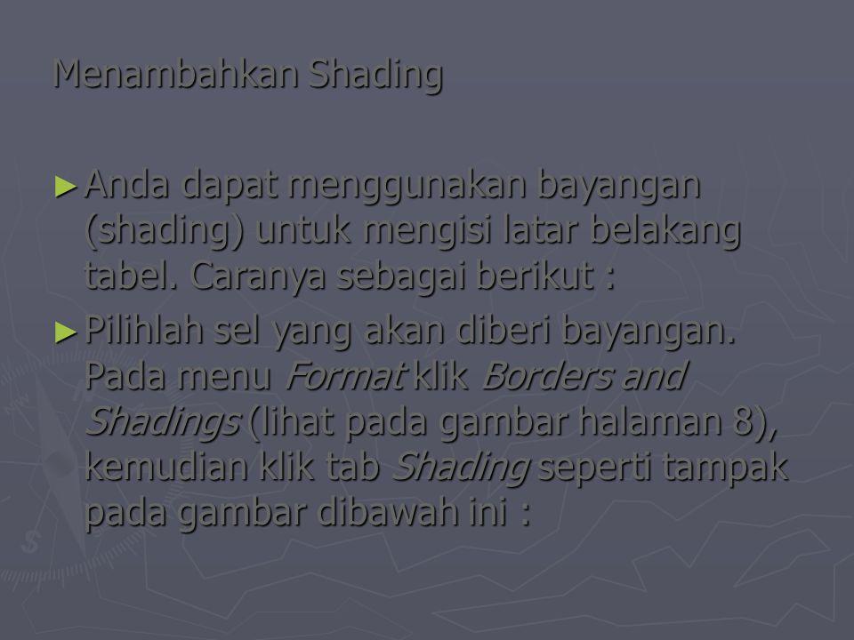 Menambahkan Shading ► Anda dapat menggunakan bayangan (shading) untuk mengisi latar belakang tabel.