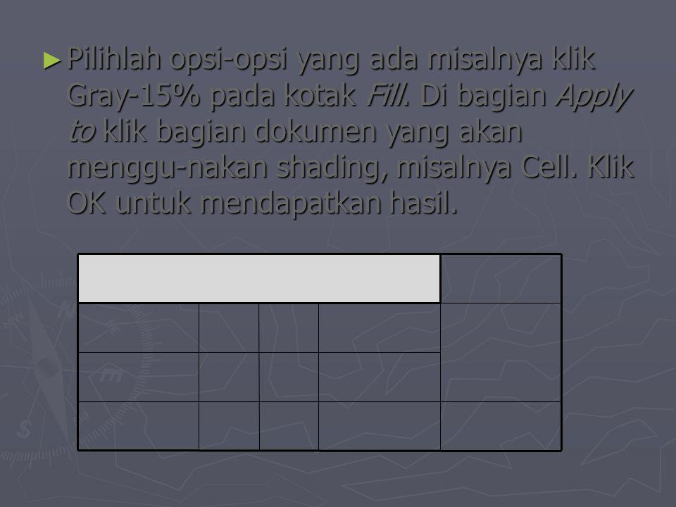 ► Pilihlah opsi-opsi yang ada misalnya klik Gray-15% pada kotak Fill.