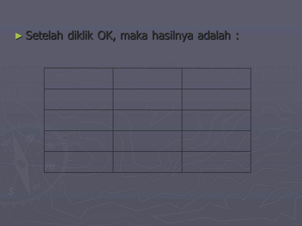 ► Bila ingin menghapus (delete) baris atau kolom, letakkan kursor pada pada sel yang ingin dihapus kolomnya atau sel yang ingin dihapus barisnya.