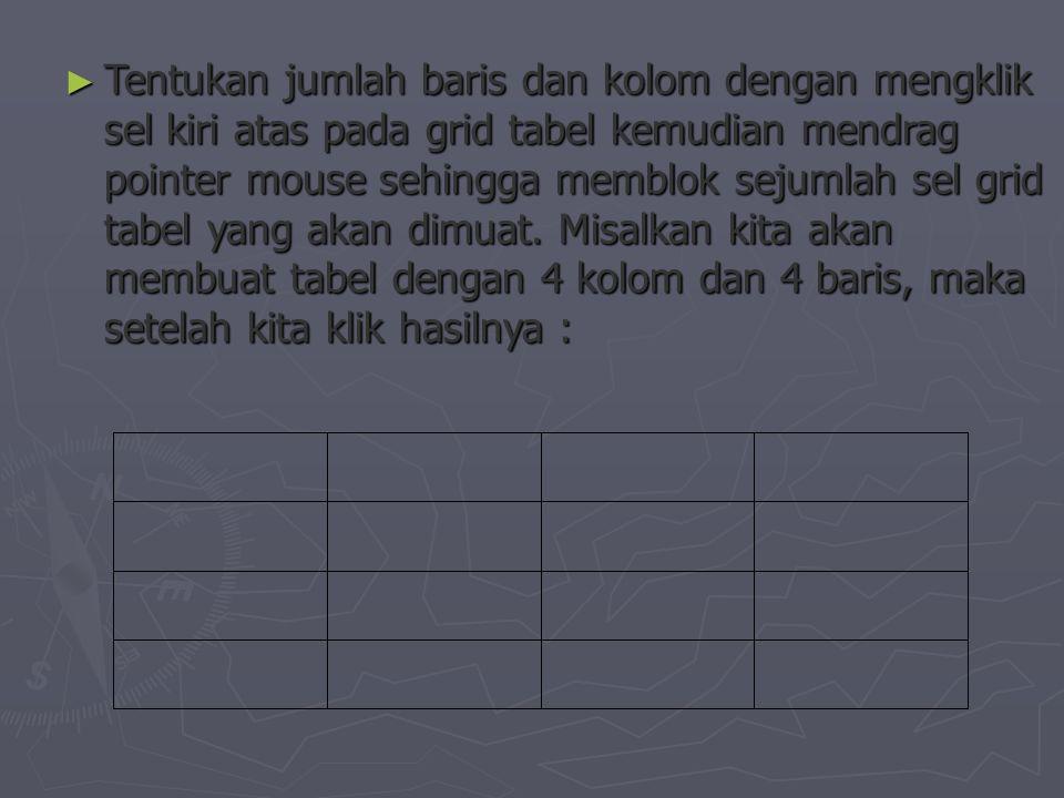 ► Tentukan jumlah baris dan kolom dengan mengklik sel kiri atas pada grid tabel kemudian mendrag pointer mouse sehingga memblok sejumlah sel grid tabel yang akan dimuat.