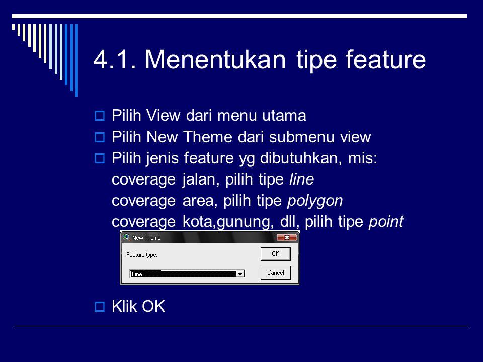 4.1. Menentukan tipe feature  Pilih View dari menu utama  Pilih New Theme dari submenu view  Pilih jenis feature yg dibutuhkan, mis: coverage jalan