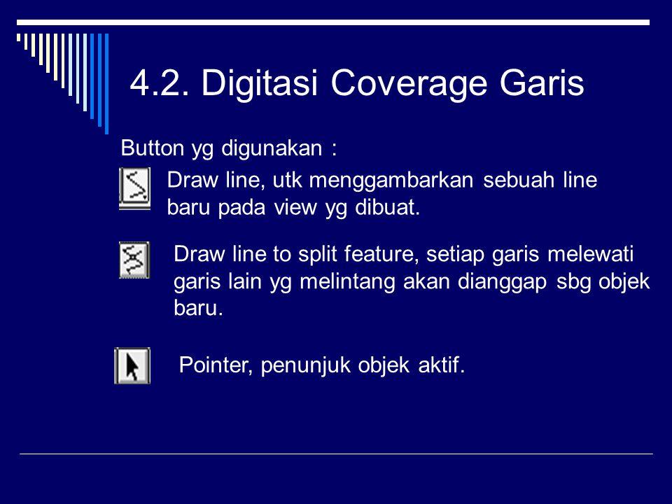 4.2. Digitasi Coverage Garis Button yg digunakan : Draw line, utk menggambarkan sebuah line baru pada view yg dibuat. Draw line to split feature, seti