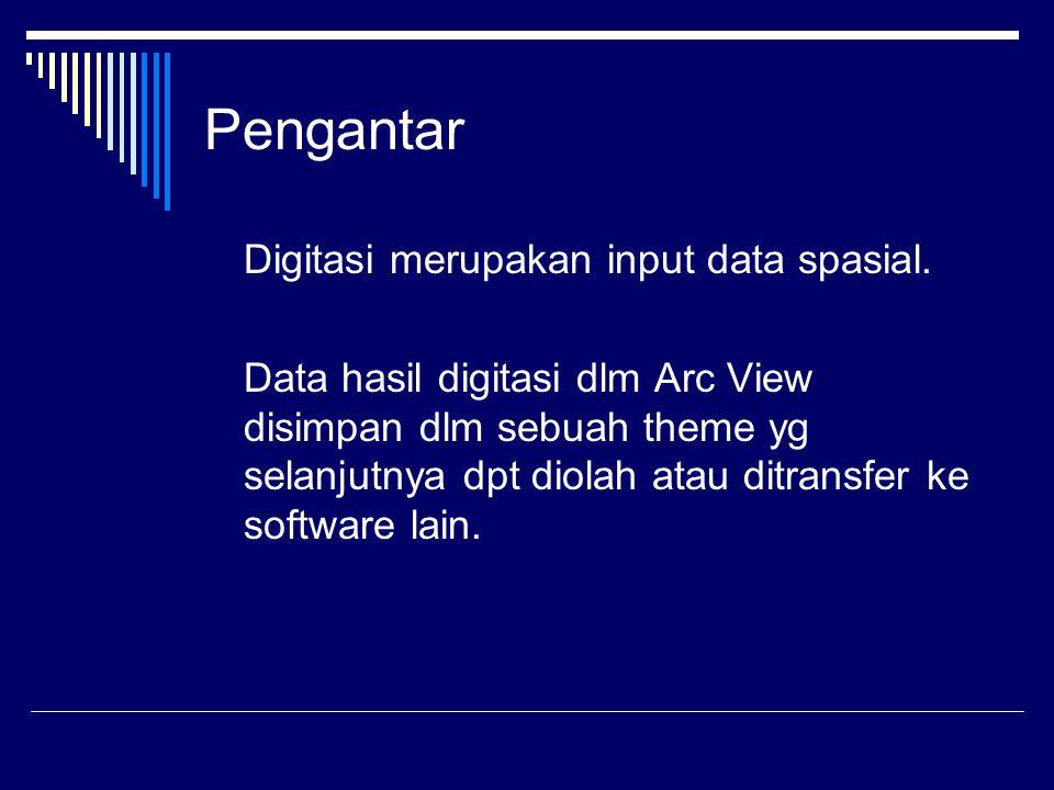 Pengantar Digitasi merupakan input data spasial.