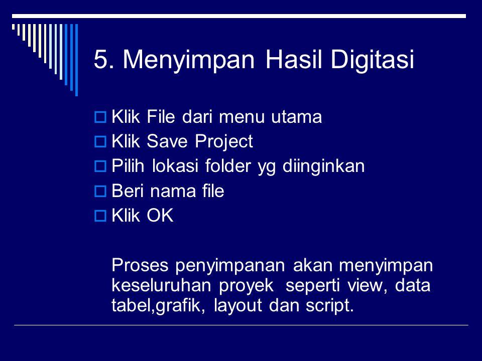 5. Menyimpan Hasil Digitasi  Klik File dari menu utama  Klik Save Project  Pilih lokasi folder yg diinginkan  Beri nama file  Klik OK Proses peny
