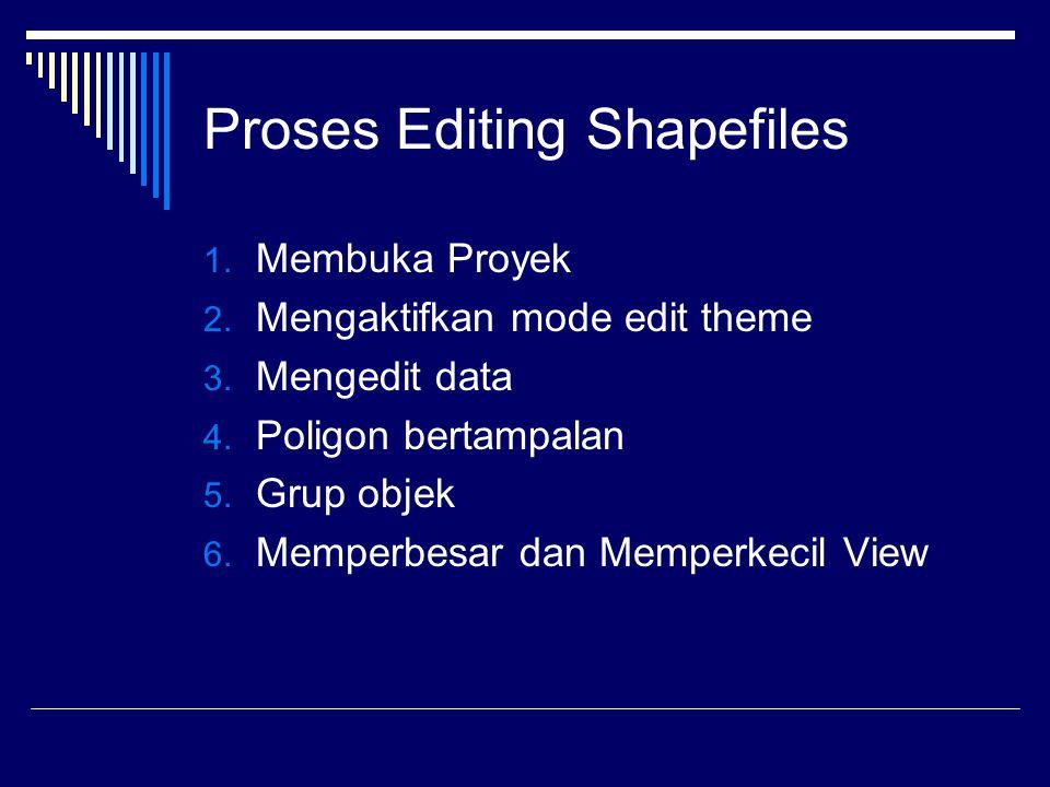 Proses Editing Shapefiles 1.Membuka Proyek 2. Mengaktifkan mode edit theme 3.