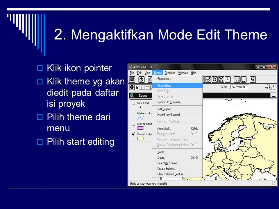 2. Mengaktifkan Mode Edit Theme  Klik ikon pointer  Klik theme yg akan diedit pada daftar isi proyek  Pilih theme dari menu  Pilih start editing