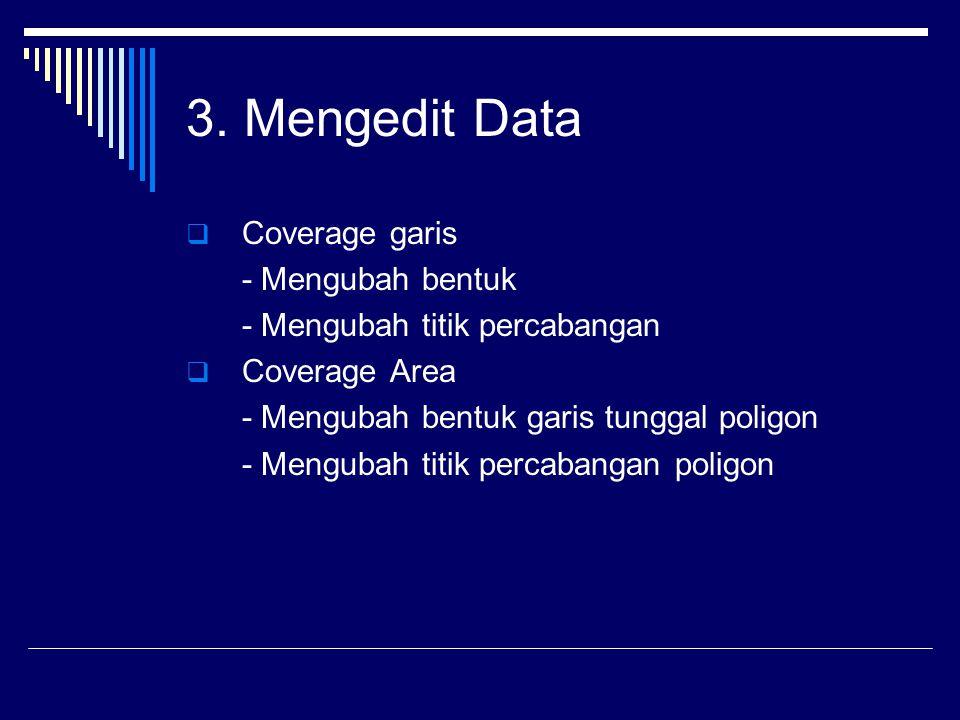 3. Mengedit Data  Coverage garis - Mengubah bentuk - Mengubah titik percabangan  Coverage Area - Mengubah bentuk garis tunggal poligon - Mengubah ti