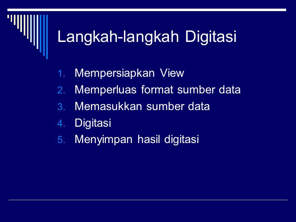 Langkah-langkah Digitasi 1.Mempersiapkan View 2. Memperluas format sumber data 3.