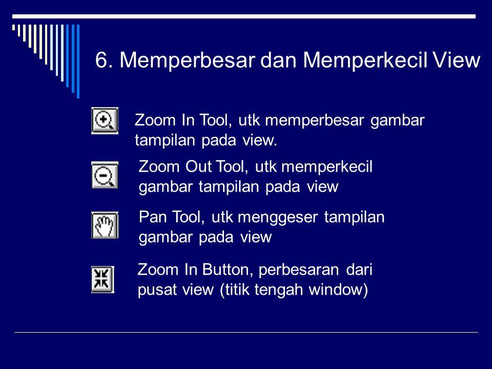 6.Memperbesar dan Memperkecil View Zoom In Tool, utk memperbesar gambar tampilan pada view.