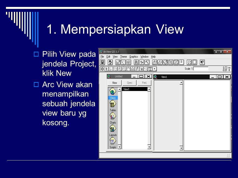 1. Mempersiapkan View  Pilih View pada jendela Project, klik New  Arc View akan menampilkan sebuah jendela view baru yg kosong.