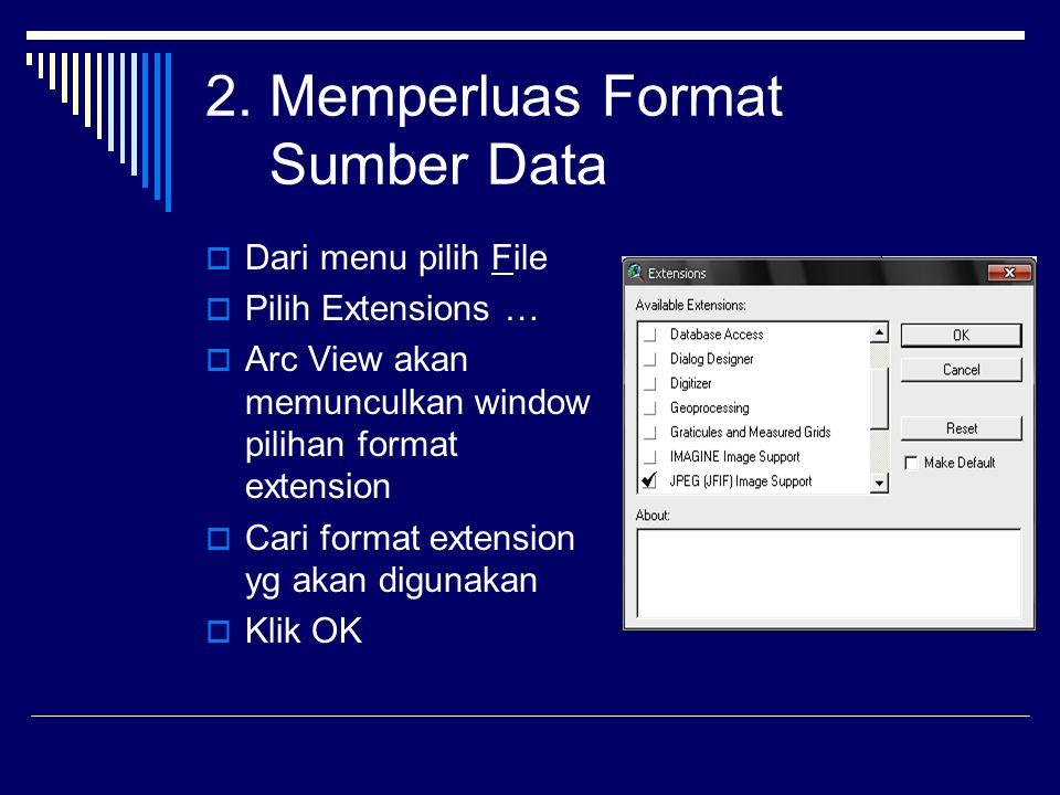 2. Memperluas Format Sumber Data  Dari menu pilih File  Pilih Extensions …  Arc View akan memunculkan window pilihan format extension  Cari format