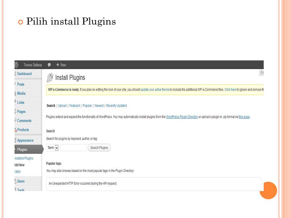 Pilih install Plugins