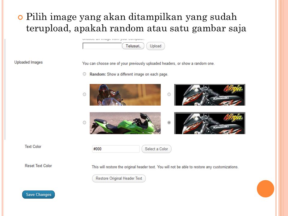 Pilih image yang akan ditampilkan yang sudah terupload, apakah random atau satu gambar saja