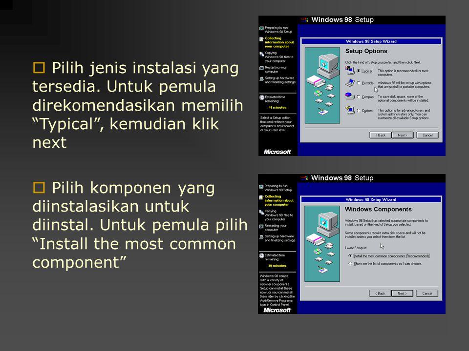 """ Pilih jenis instalasi yang tersedia. Untuk pemula direkomendasikan memilih """"Typical"""", kemudian klik next  Pilih komponen yang diinstalasikan untuk"""