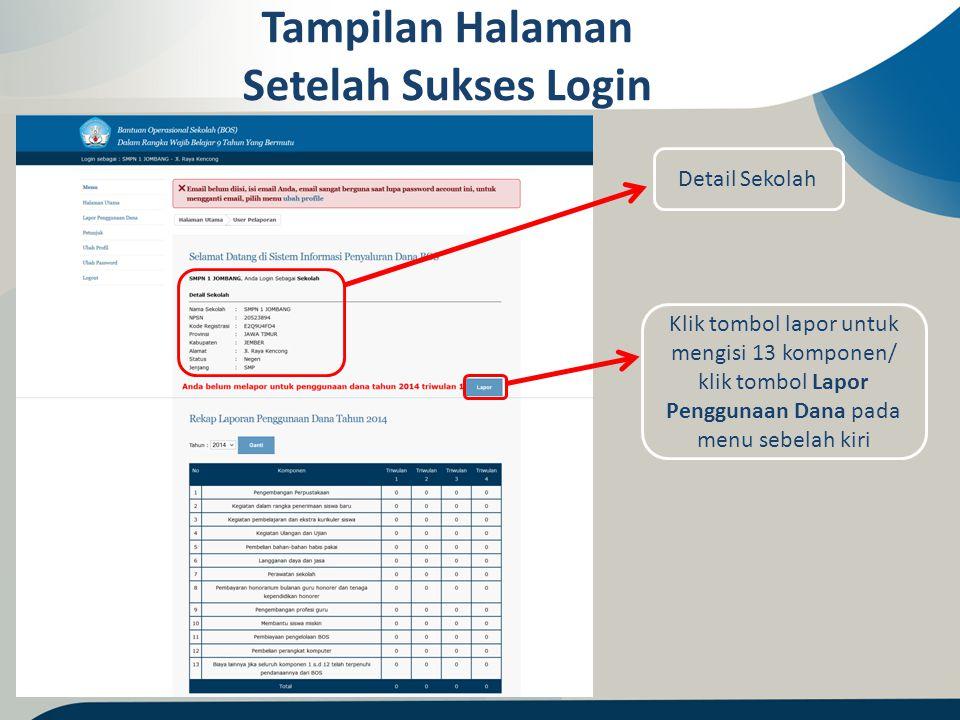 Tampilan Halaman Setelah Sukses Login Detail Sekolah Klik tombol lapor untuk mengisi 13 komponen/ klik tombol Lapor Penggunaan Dana pada menu sebelah
