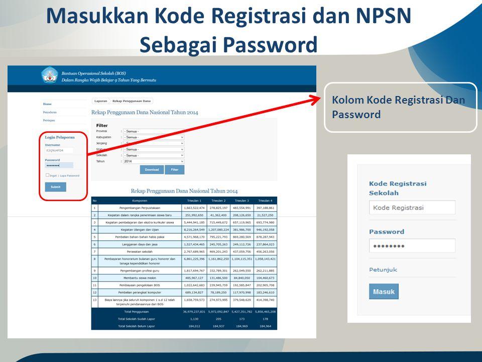 Masukkan Kode Registrasi dan NPSN Sebagai Password Kolom Kode Registrasi Dan Password