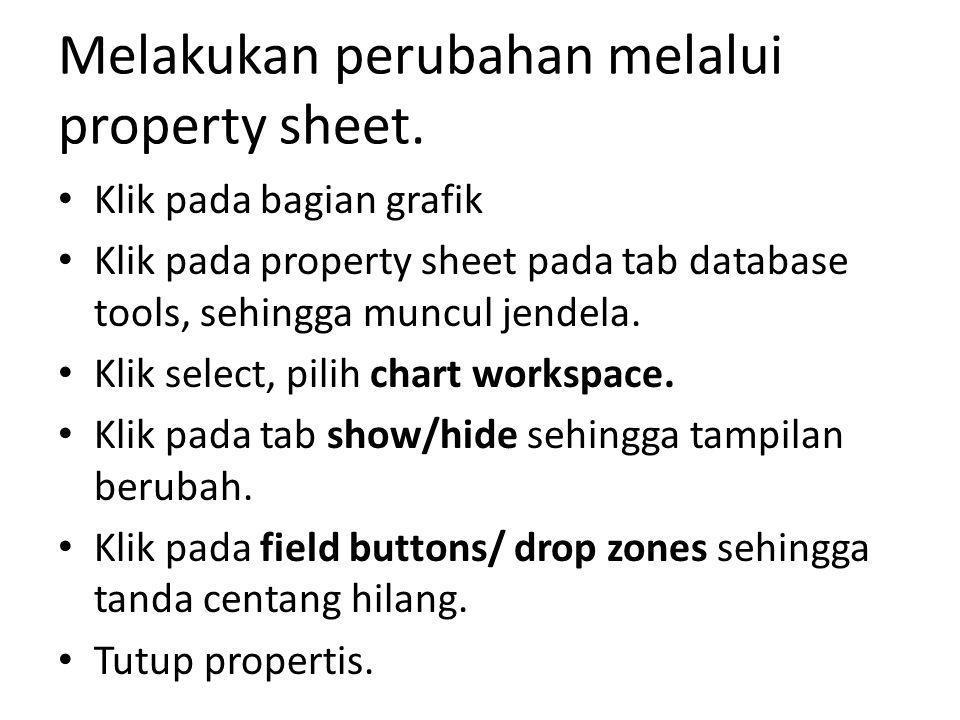 Melakukan perubahan melalui property sheet. Klik pada bagian grafik Klik pada property sheet pada tab database tools, sehingga muncul jendela. Klik se
