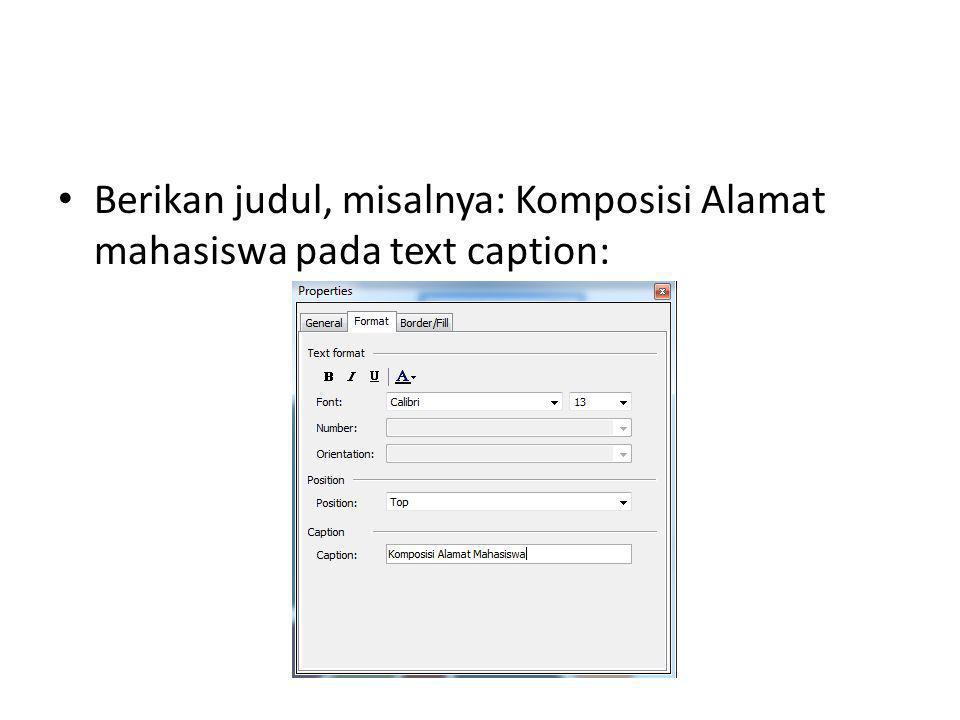 Berikan judul, misalnya: Komposisi Alamat mahasiswa pada text caption: