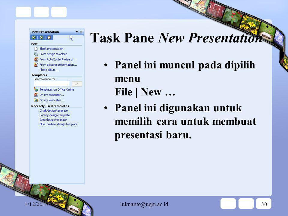 Pelatihan PowerPoint untuk Pemula … Task Panes …
