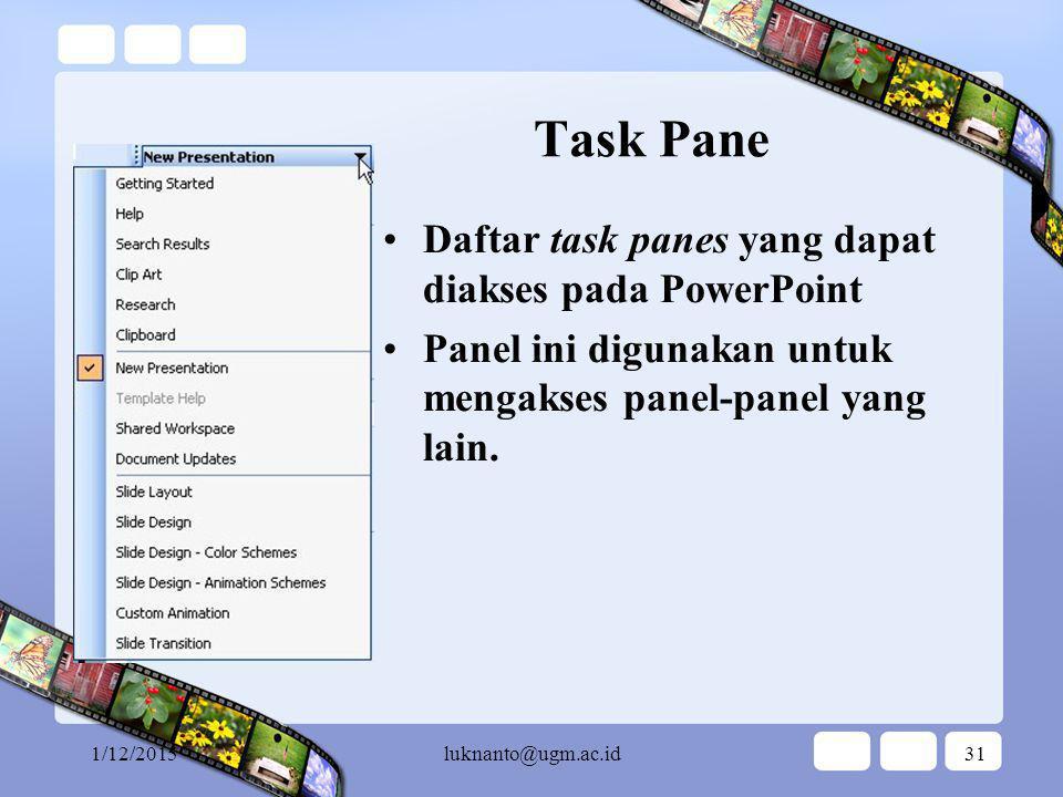 1/12/2015luknanto@ugm.ac.id30 Task Pane New Presentation Panel ini muncul pada dipilih menu File | New … Panel ini digunakan untuk memilih cara untuk membuat presentasi baru.