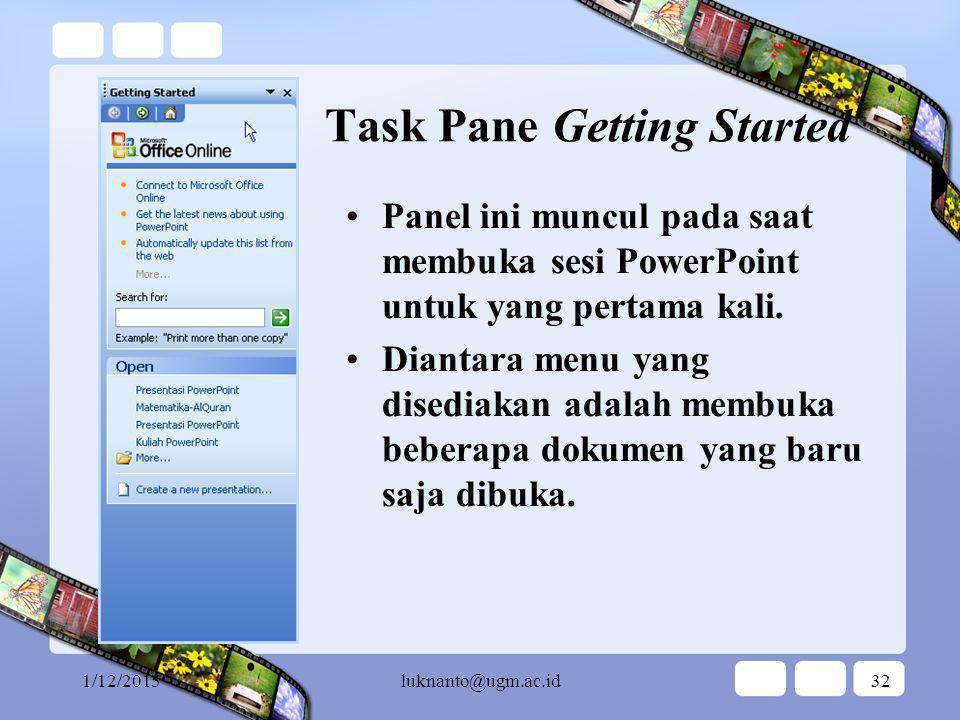 1/12/2015luknanto@ugm.ac.id31 Task Pane Daftar task panes yang dapat diakses pada PowerPoint Panel ini digunakan untuk mengakses panel-panel yang lain.