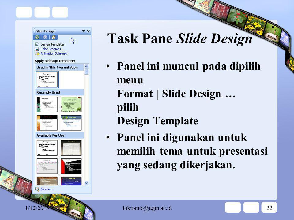 1/12/2015luknanto@ugm.ac.id32 Task Pane Getting Started Panel ini muncul pada saat membuka sesi PowerPoint untuk yang pertama kali.