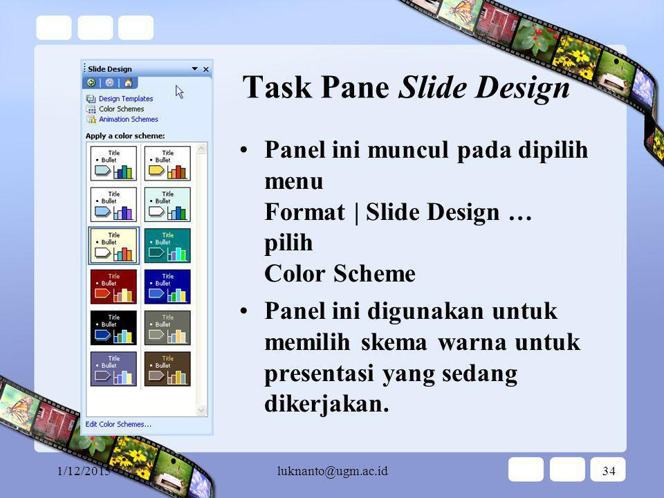 1/12/2015luknanto@ugm.ac.id33 Task Pane Slide Design Panel ini muncul pada dipilih menu Format | Slide Design … pilih Design Template Panel ini digunakan untuk memilih tema untuk presentasi yang sedang dikerjakan.
