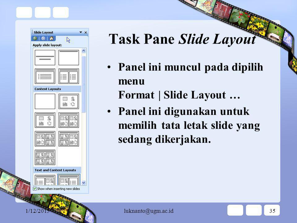 1/12/2015luknanto@ugm.ac.id34 Task Pane Slide Design Panel ini muncul pada dipilih menu Format | Slide Design … pilih Color Scheme Panel ini digunakan untuk memilih skema warna untuk presentasi yang sedang dikerjakan.