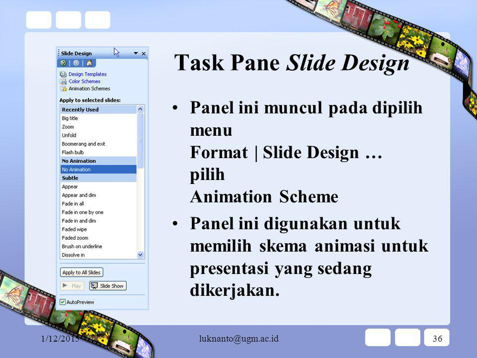 1/12/2015luknanto@ugm.ac.id35 Task Pane Slide Layout Panel ini muncul pada dipilih menu Format | Slide Layout … Panel ini digunakan untuk memilih tata letak slide yang sedang dikerjakan.