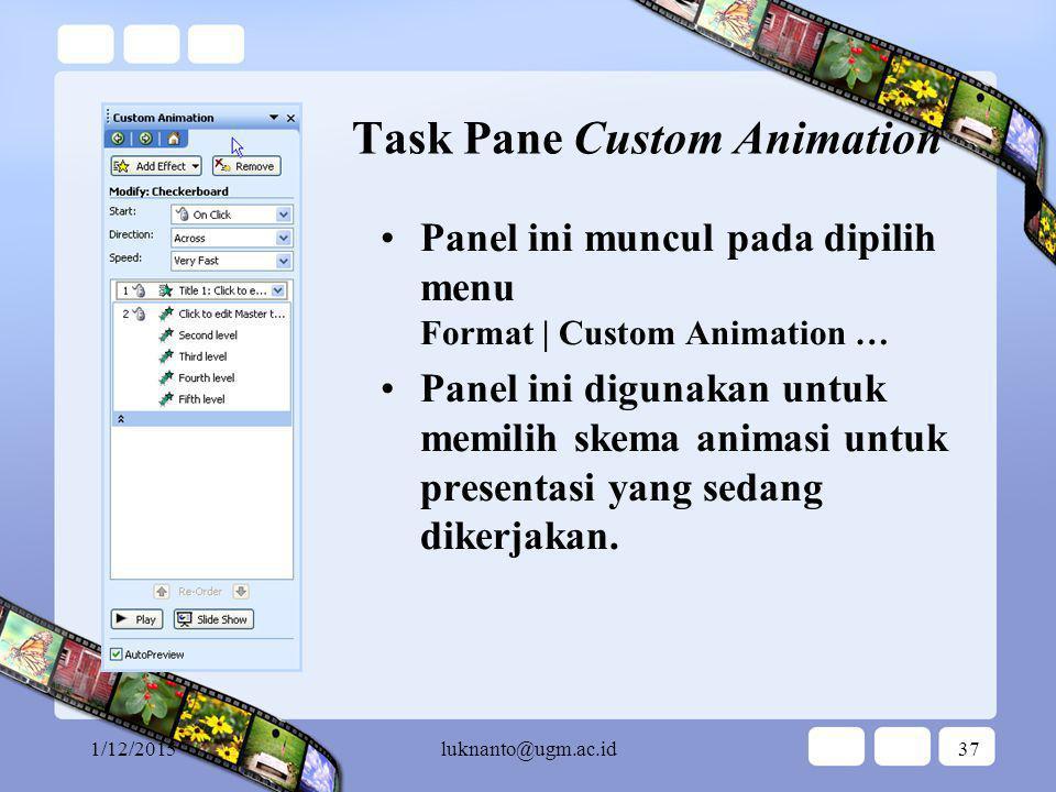 1/12/2015luknanto@ugm.ac.id36 Task Pane Slide Design Panel ini muncul pada dipilih menu Format | Slide Design … pilih Animation Scheme Panel ini digunakan untuk memilih skema animasi untuk presentasi yang sedang dikerjakan.